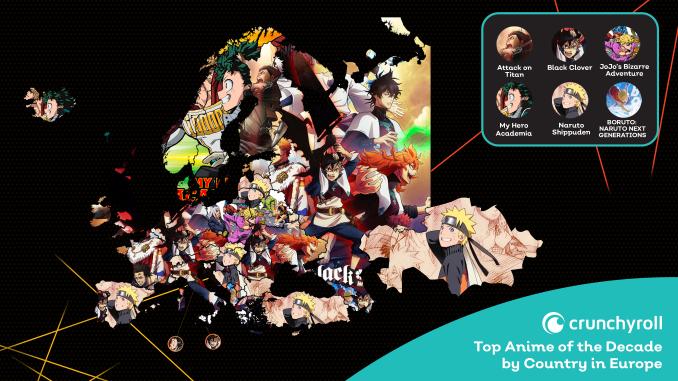 Crunchyroll: Die beliebtesten Anime des Jahrzehnts auf der Weltkarte